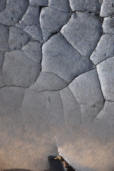 A cracked and torn kitchen work surface on a bonfire