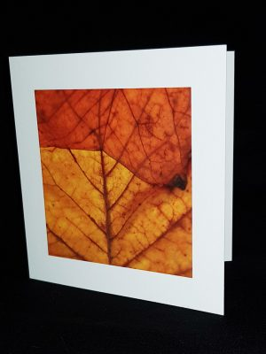 Glass Pebble Autumn Leaf Square Greeting Card