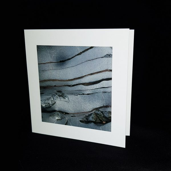 Glass Pebble Grey Sand Square Greeting Card