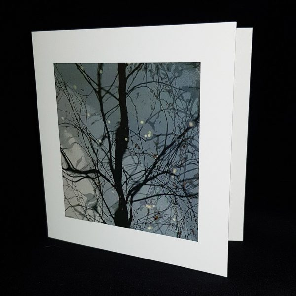 Glass Pebble Silhouette Square Greeting Card