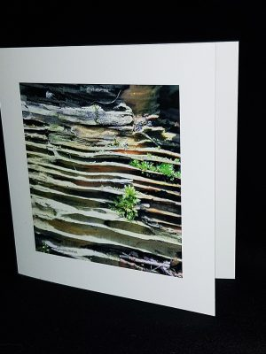 Glass Pebble Yellow Strata Greeting Card