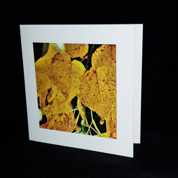 Glass Pebble Yellow Leaf Square Greeting Card